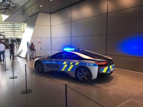 BMW i8 vehicle used by the Czech Police displayed at BMW Welt exhibition in Munich.